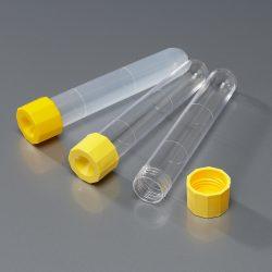 Koeputki, kierretulpitettu, keltainen, 16 x 100 mm, PP